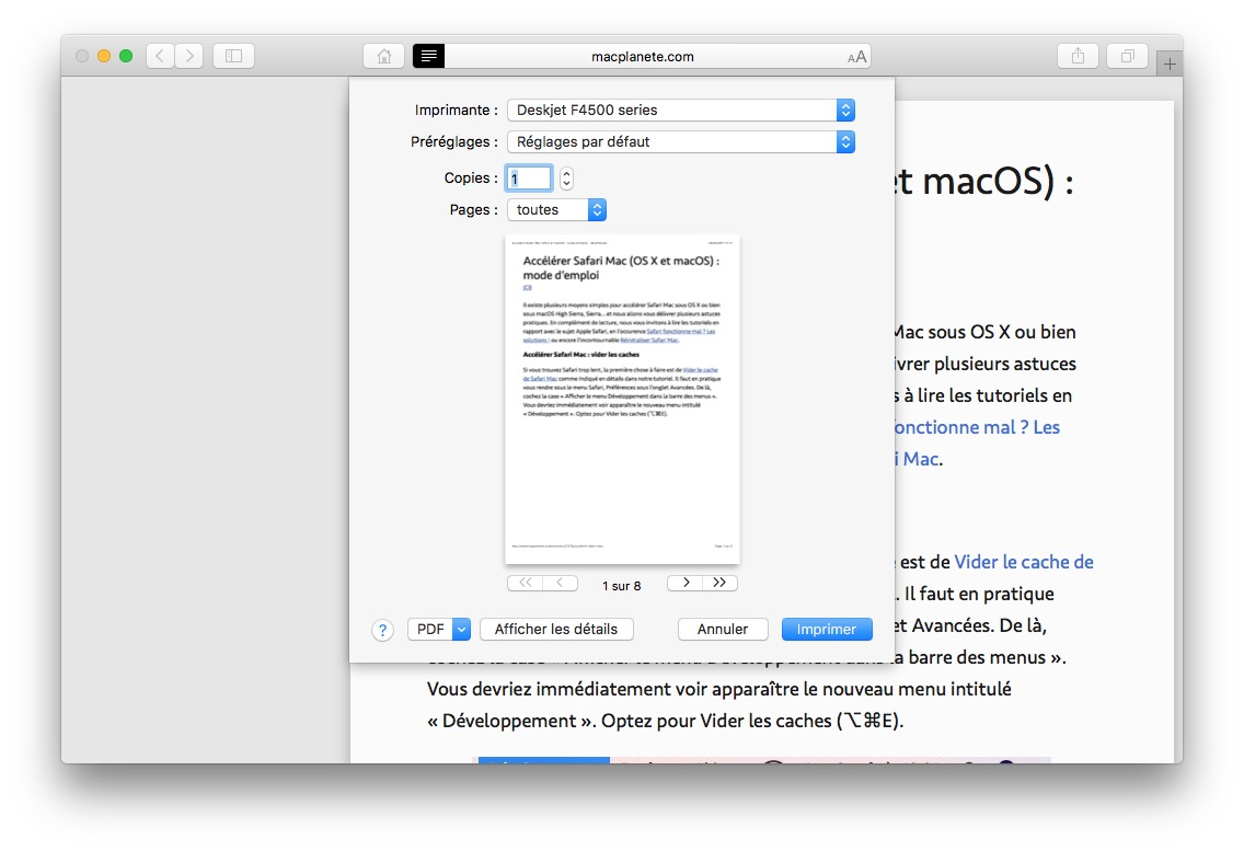 imprimer une image sur mac