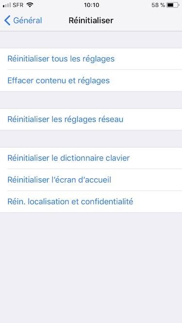 Installation propre iOS 11 effacer contenu et reglages
