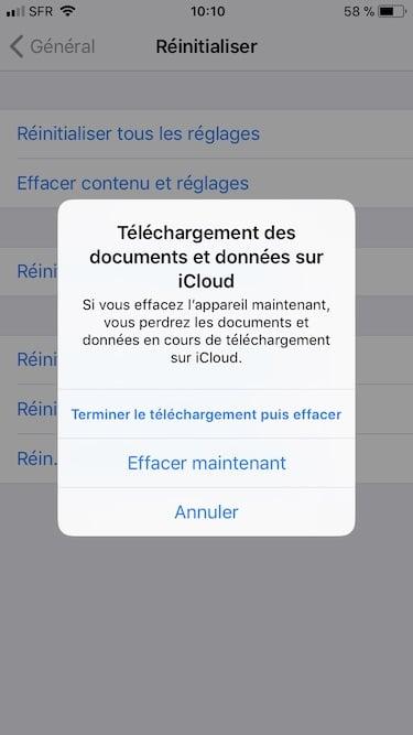 Installation propre iOS 11 effacer maintenant