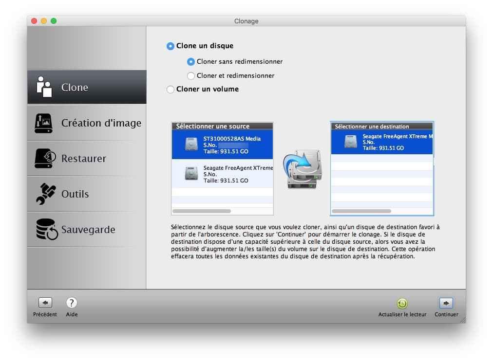 Installer macOS High Sierra cloner disque principal