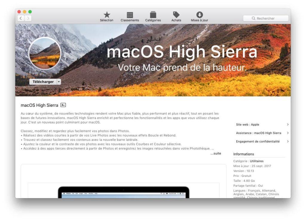 Installer macOS High Sierra par app store