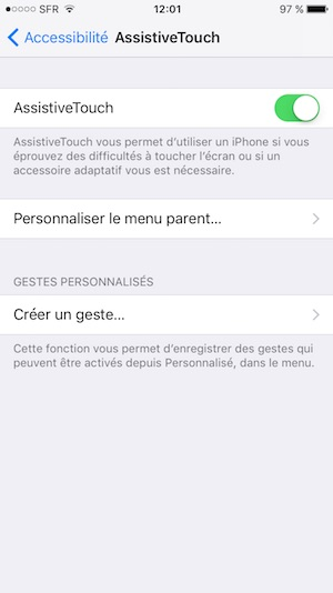 bouton home en panne sur iphone assistivetouch