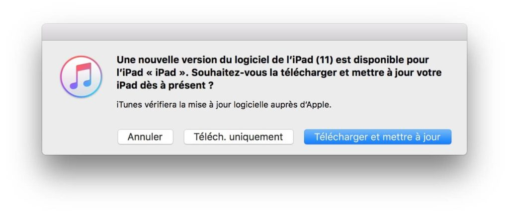 installer ios 11 iphone ipad via itunes