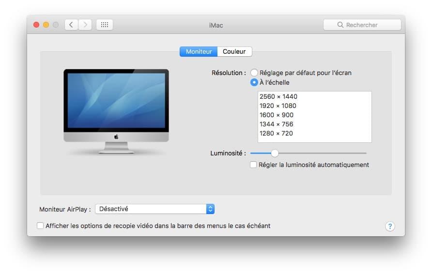 regler luminosite Mac