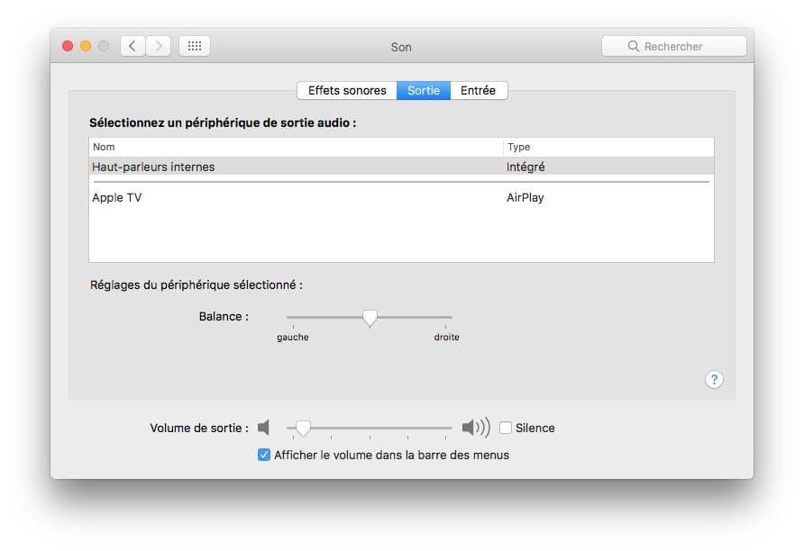 regler volume de sortie mac