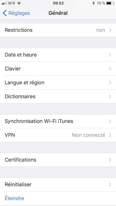 Changer la langue d'un iPhone langue et region
