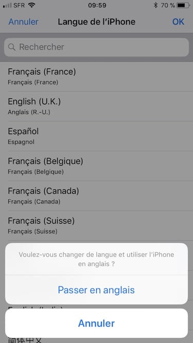Changer la langue d'un iPhone passer en anglais