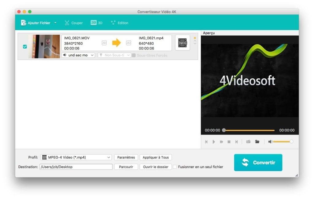 Convertir une video 4K sur Mac sur MacOS Mac OS X