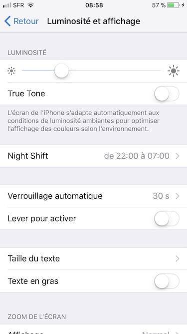 Desactiver True Tone sur iPhone 8