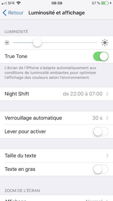 Desactiver True tone sur iPhone Luminosite