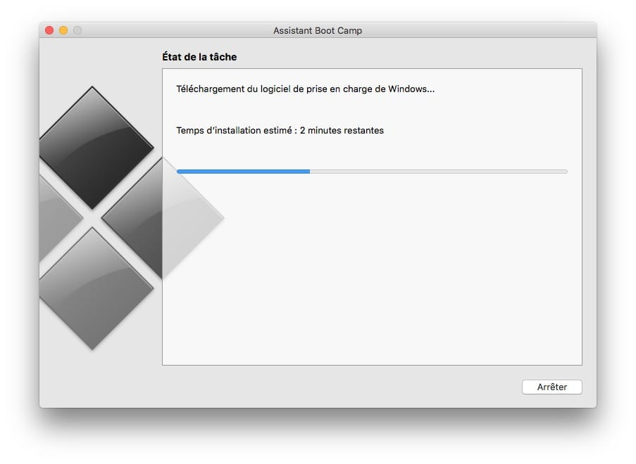 Installer Windows sur Mac sans Boot Camp dl drivers en cours