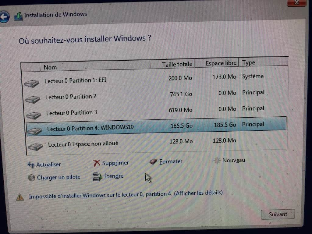 Installer Windows sur Mac sans Boot Camp drivers boot camp formater partition