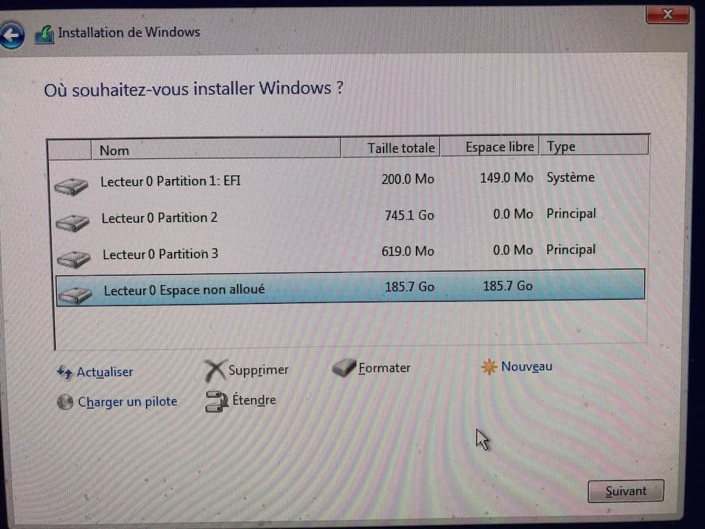 Installer Windows sur Mac sans Boot Camp drivers boot espace non alloue