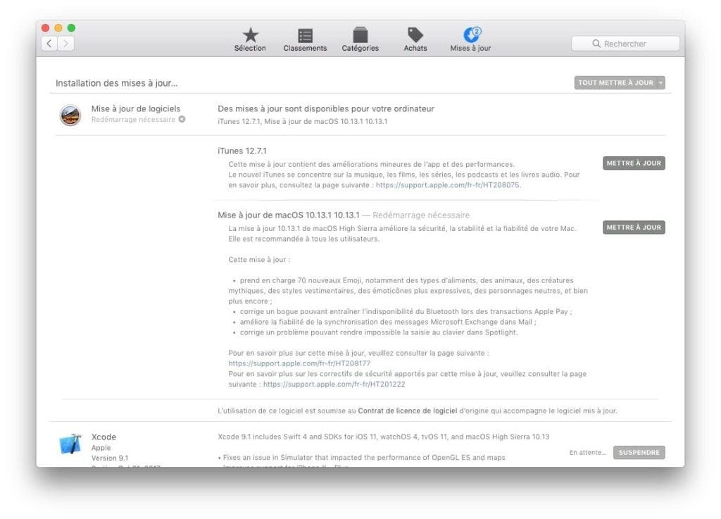 MacOS High Sierra 10.13.1 app store