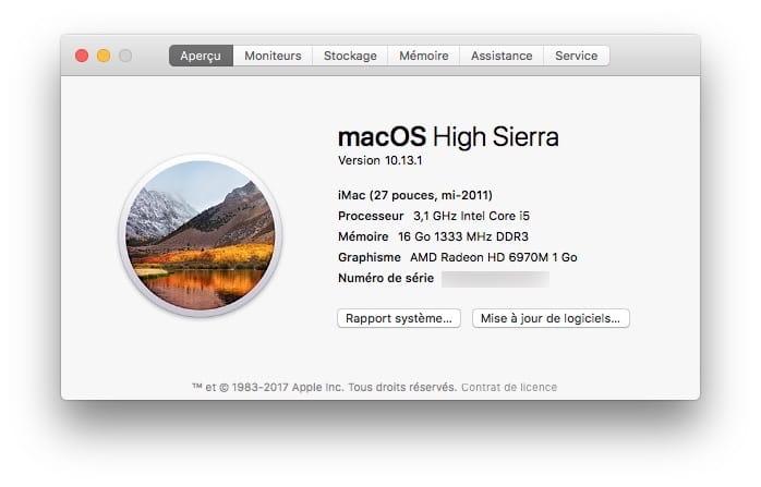 MacOS High Sierra 10.13.1 imac macbook