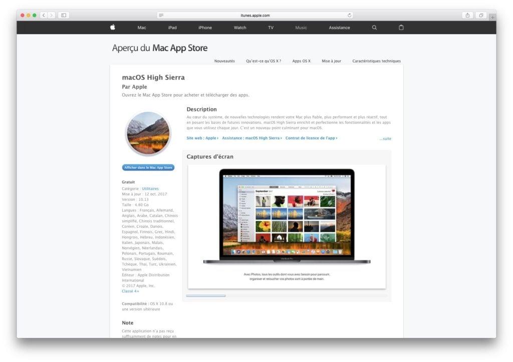MacOS High Sierra 10.13.1 telecharger app store