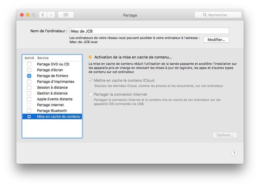 Mise en cache de contenu macOS High Sierra activation en cours
