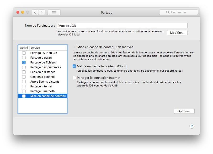 Mise en cache de contenu macOS High Sierra desactivee
