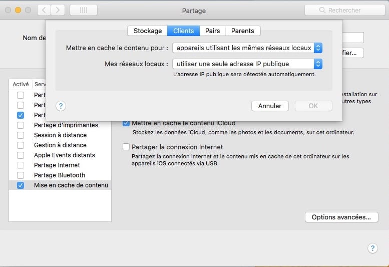 Mise en cache de contenu macOS High Sierra options avancees