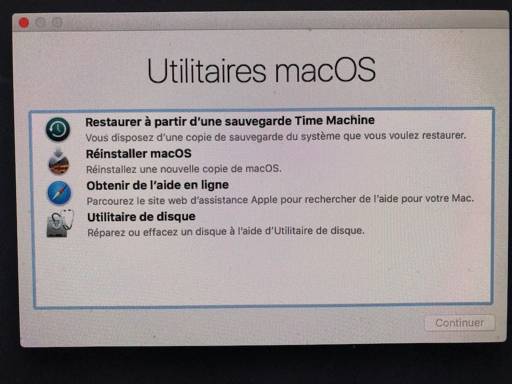 Restaurer sa sauvegarde Time Machine