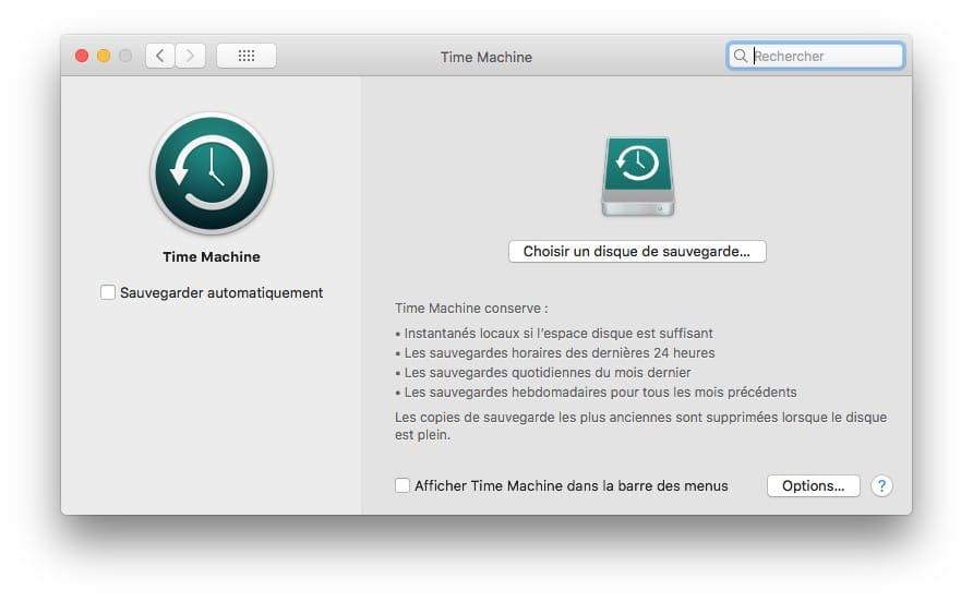 Sauvegarder son Mac avec Time Machine choisir disque de sauvegarde