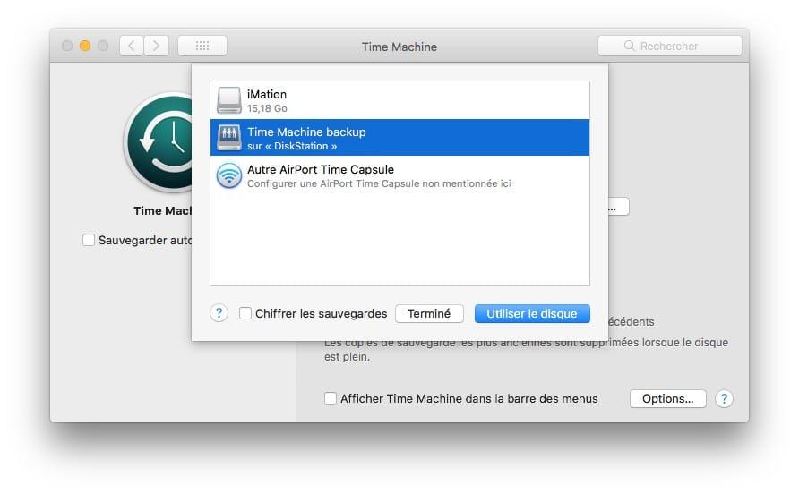 Sauvegarder son Mac avec Time Machine choisir disque externe