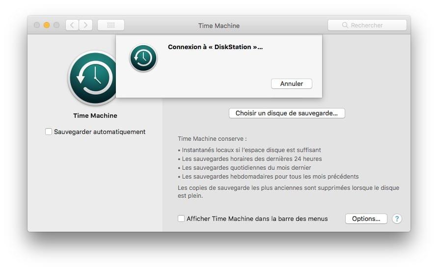 Sauvegarder son Mac avec Time Machine diskstation connexion
