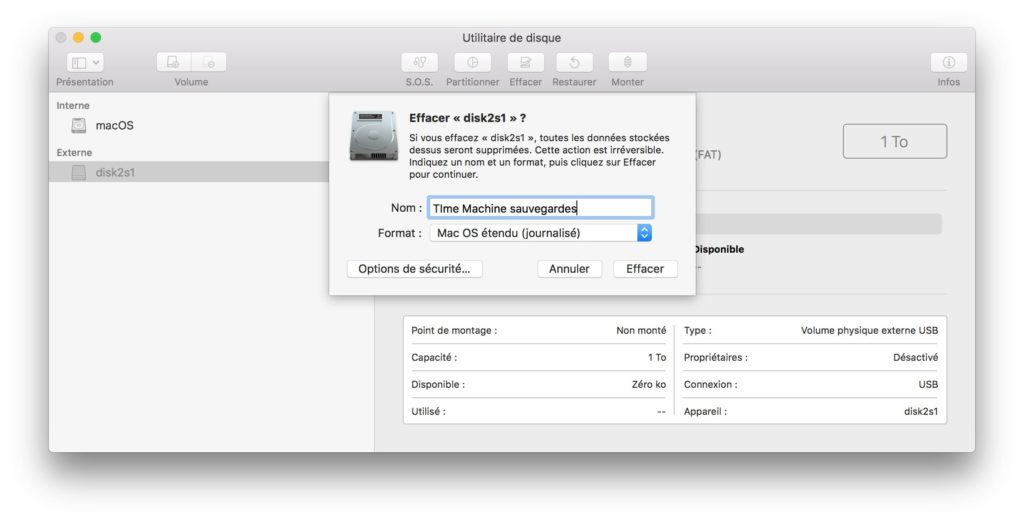 Sauvegarder son Mac avec Time Machine formater le disque en macos etendu