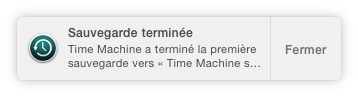Sauvegarder son Mac avec Time Machine sauvegarde terminee