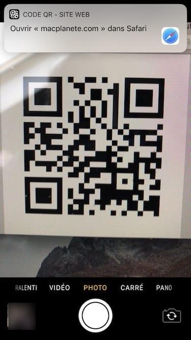 Scanner un QR Code avec un iPhone sous iOS 11 avec appareil photo