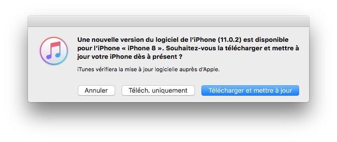 iOS11.0.2 mise a jour itunes