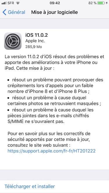 iOS11.0.2 mise a jour logicielle