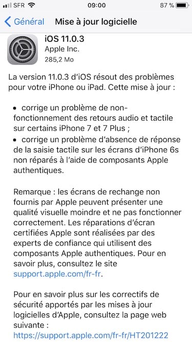 iOS 11.0.3 mise a jour apple iphone ipad ipod touch