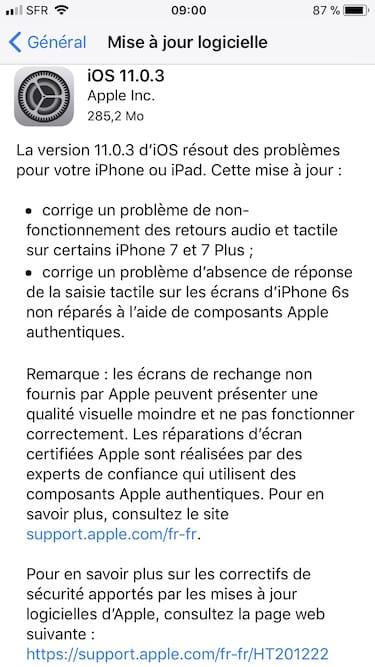 iOS11.0.3 mise a jour apple iphone ipad ipod touch