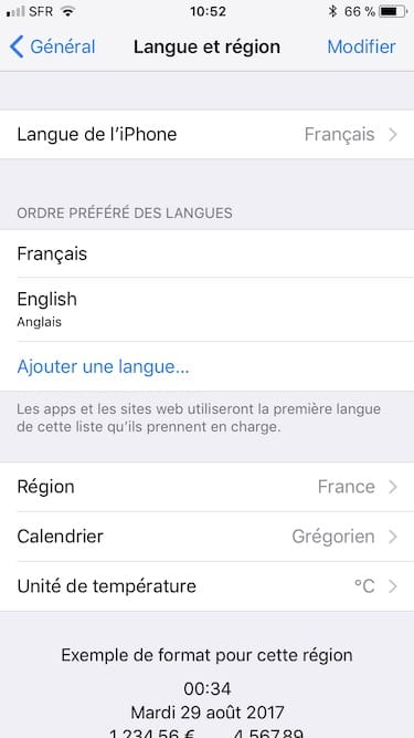 modifier langue iphone