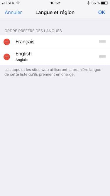 ordre prefere langue iphone