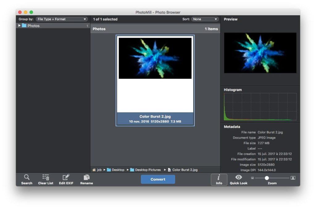 Conversion photos sur mac