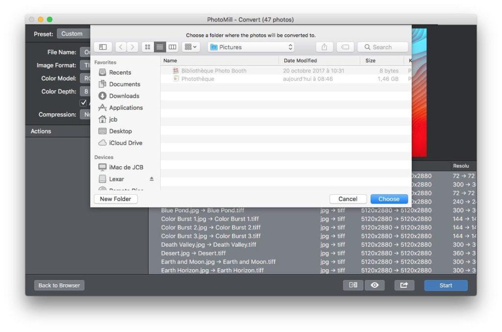 Convertir des photos sur Mac dossier de destination