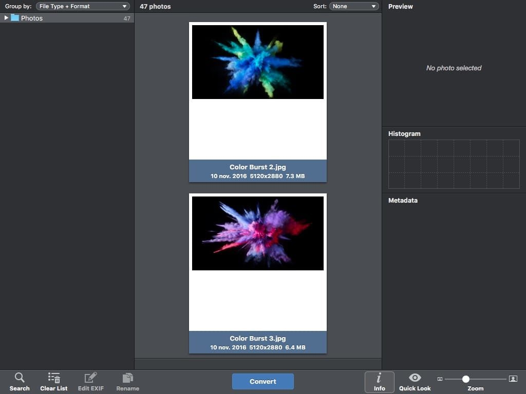 Convertir des photos sur Mac traitement par lot