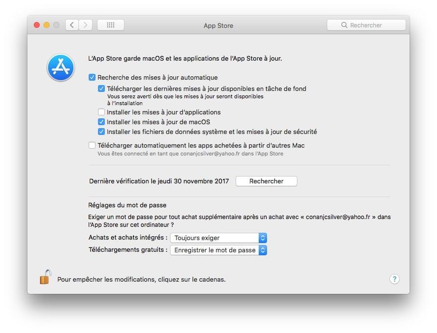 Correctif de securite root macOS High Sierra activer mise a jour automatique
