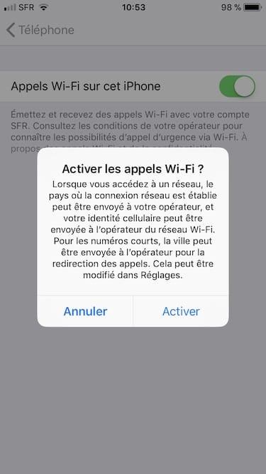 appels wifi sur iphone actifs