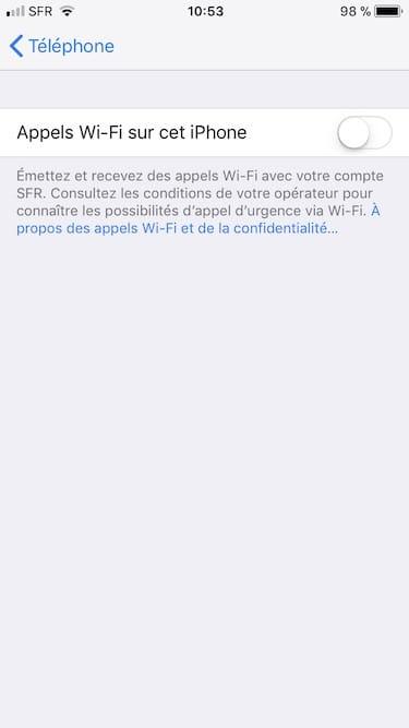 appels wifi sur iphone activer sur cet iPhone