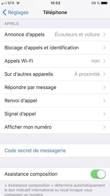 appels wifi sur iphone menu visible