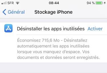 gerer l espace de stockage iphone desinstaller apps inutillisees