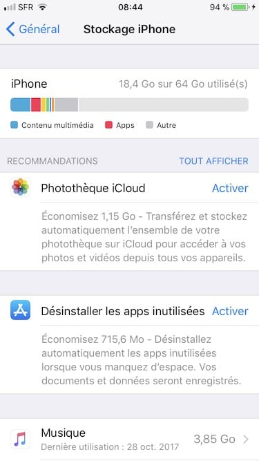 gerer lespace de stockage iphone memoire utilisee