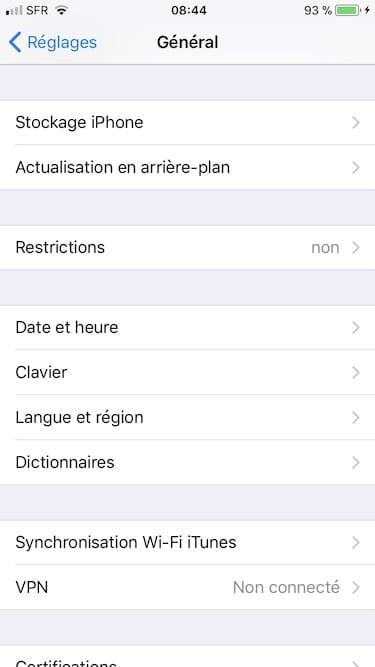 Gérer l'espace de stockage iPhone réglages général