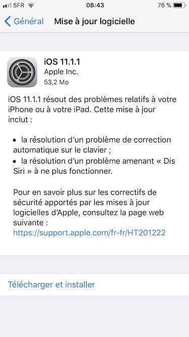 iOS 11.1.1 mise a jour disponible