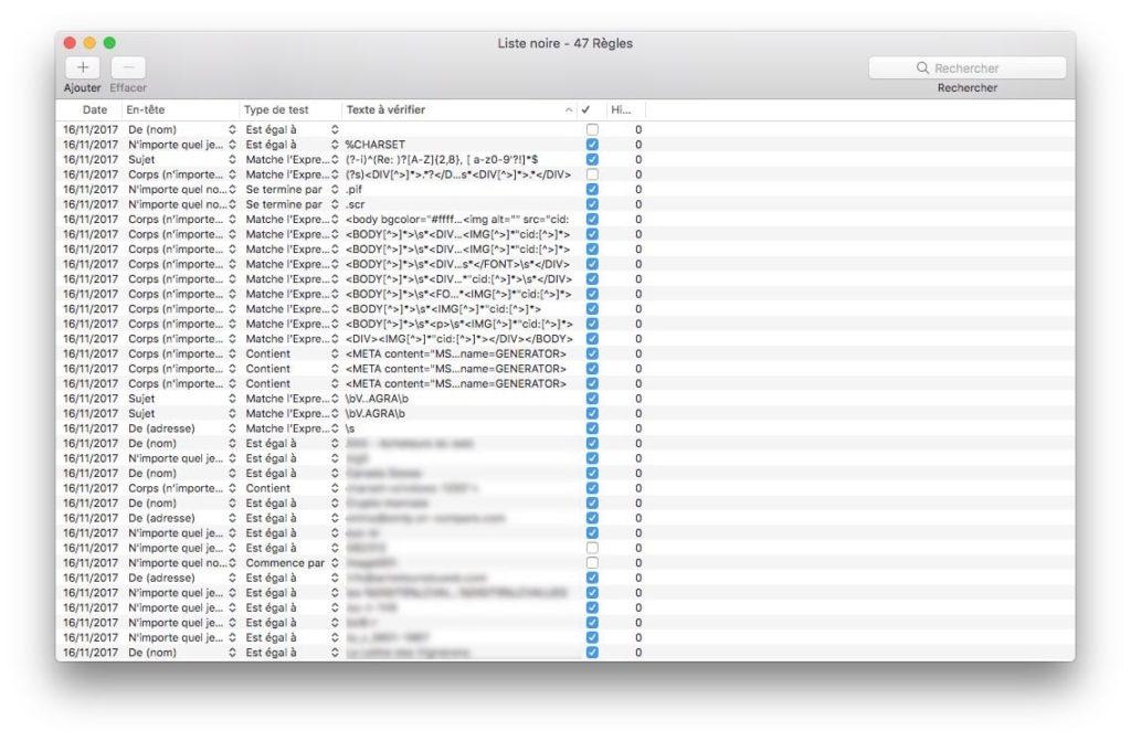 supprimer les spams sur mac liste noire liste blanche