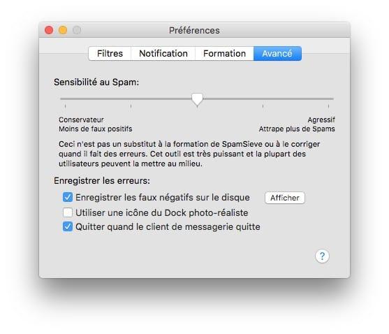 supprimer les spams sur mac regler sensibilite spam