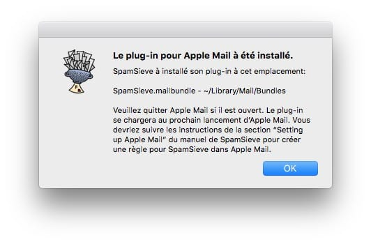 supprimer les spams sur mac spamsieve installe